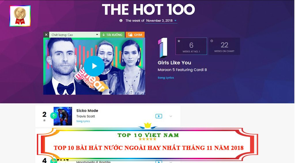 TOP 10 BÀI HÁT NƯỚC NGOÀI HAY NHẤT THÁNG 11 NĂM 2018