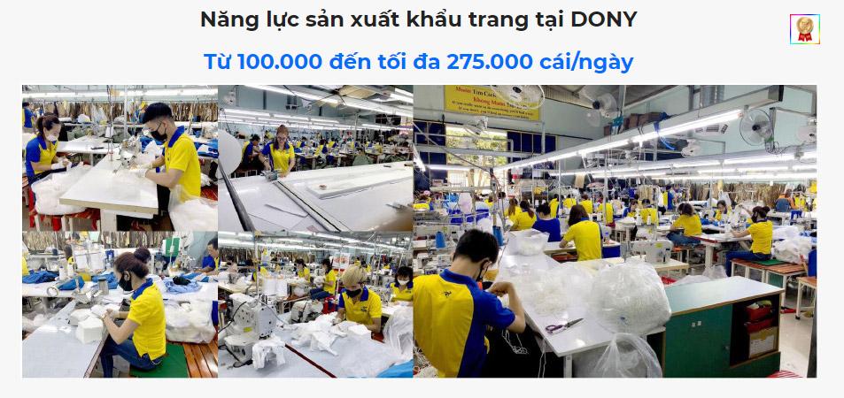 Năng lực sản xuất khẩu trang tại Dony