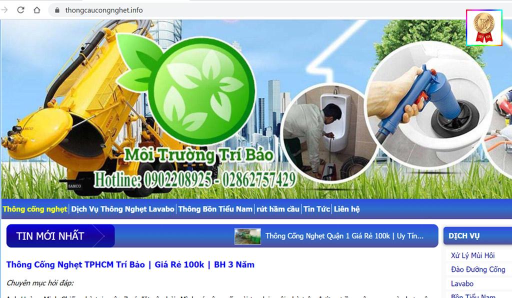 Website của Công ty hút bể phốt tại Quận 3 Trí Bảo!